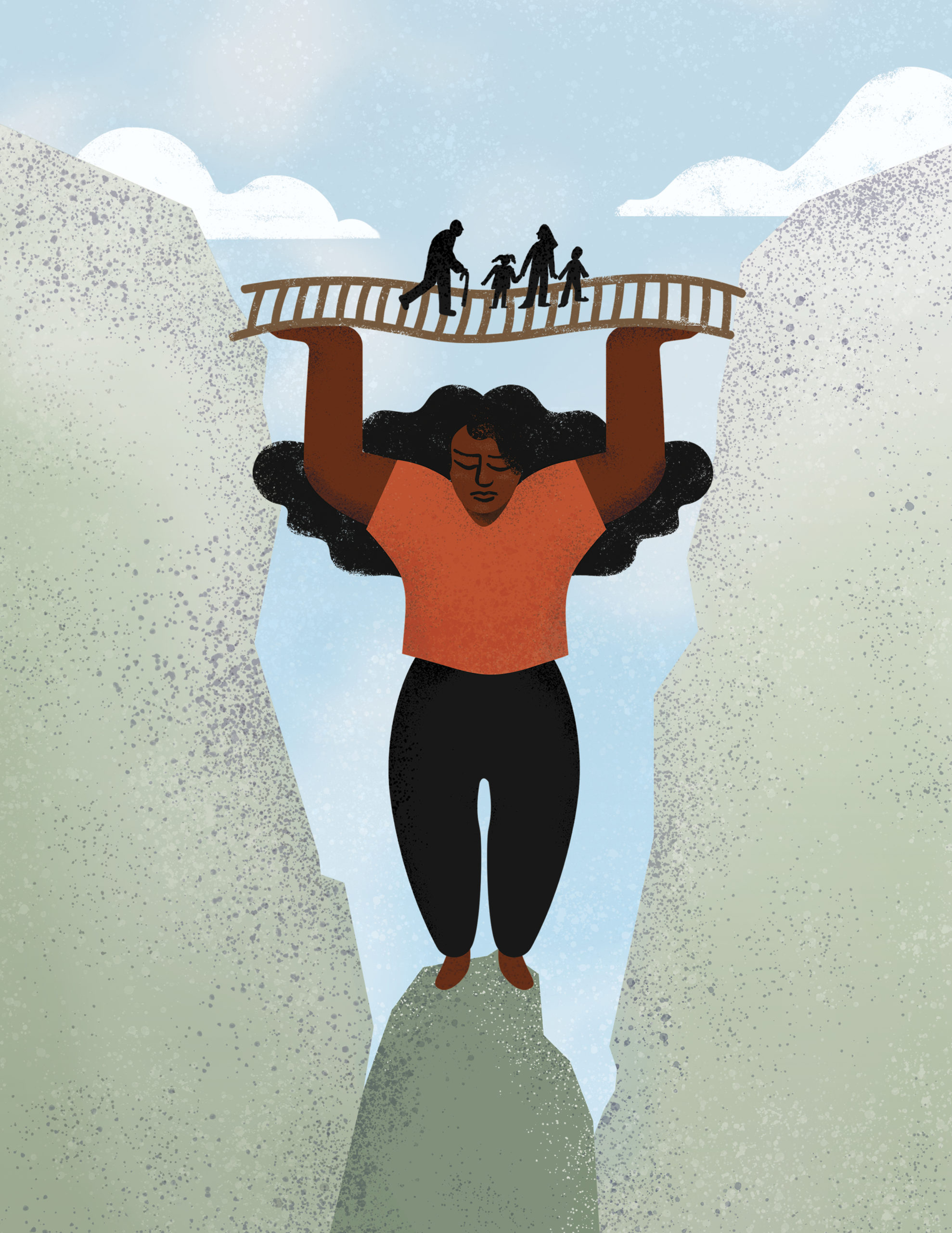 woman holding up a bridge of people of all ages