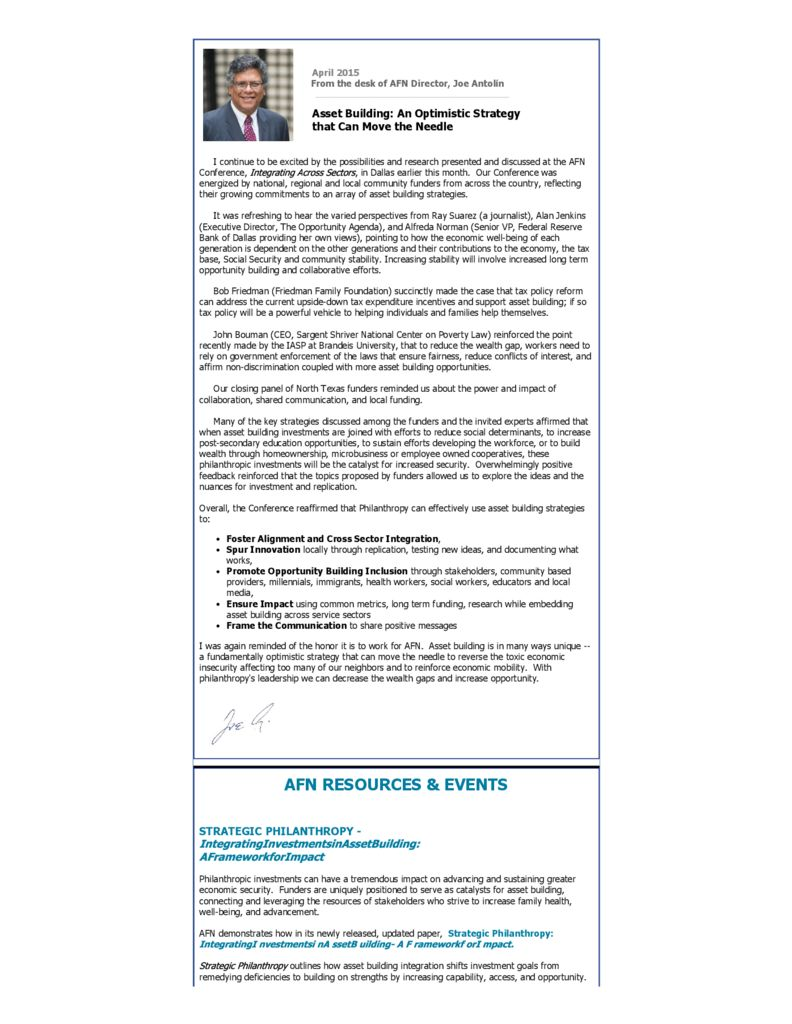 AFN Newsletter April 2015 - Asset Funders Network