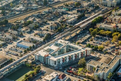 Aerial view of Casa Arabella development in Oakland