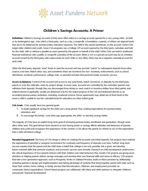 thumbnail of Childrens_Savings_Accounts_Primer_Brief